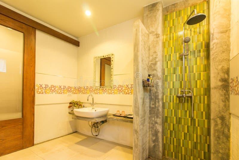Modern stil av badrummet med trädörren arkivfoton
