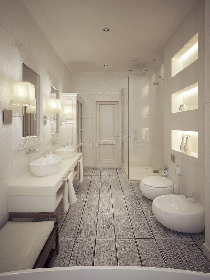 Modern stil för badrum royaltyfria foton