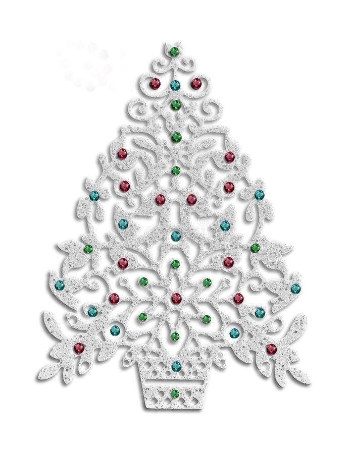 Modern stil för julgran med paljettprydnader stock illustrationer