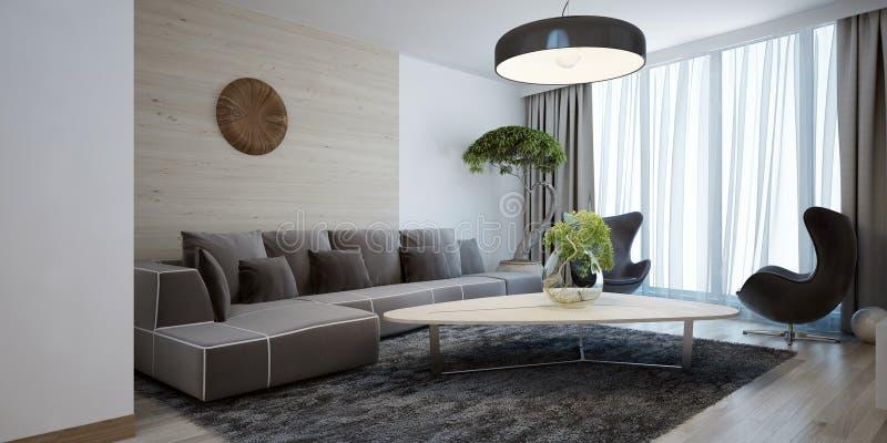 Modern stil för ljus vardagsrum arkivbild