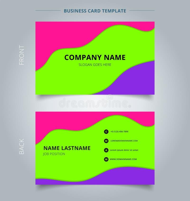 Modern stil för moderiktig abstrakt för affärsnamnkort orientering för mall Vätska eller vätskefärg för gräsplan för lager för vå stock illustrationer