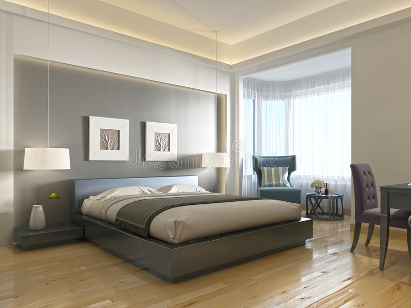 Modern stil för modernt hotellrum med beståndsdelar av art déco stock illustrationer