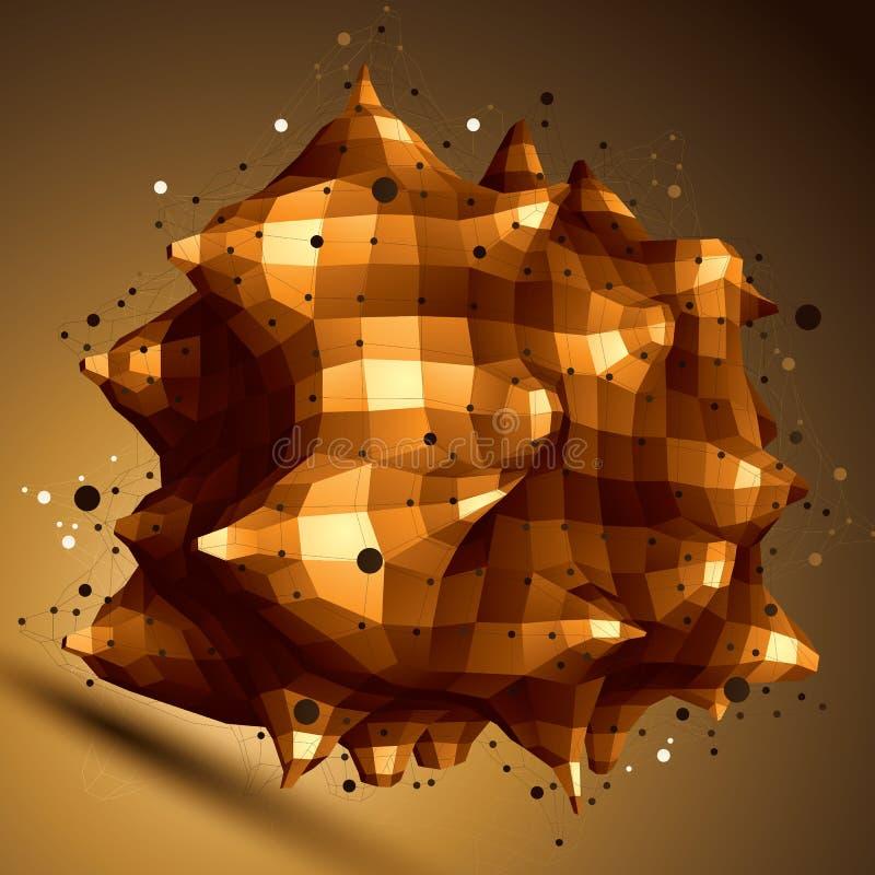 modern stilfull abstrakt konstruktion för ingrepp 3D, guld- fasett royaltyfri illustrationer
