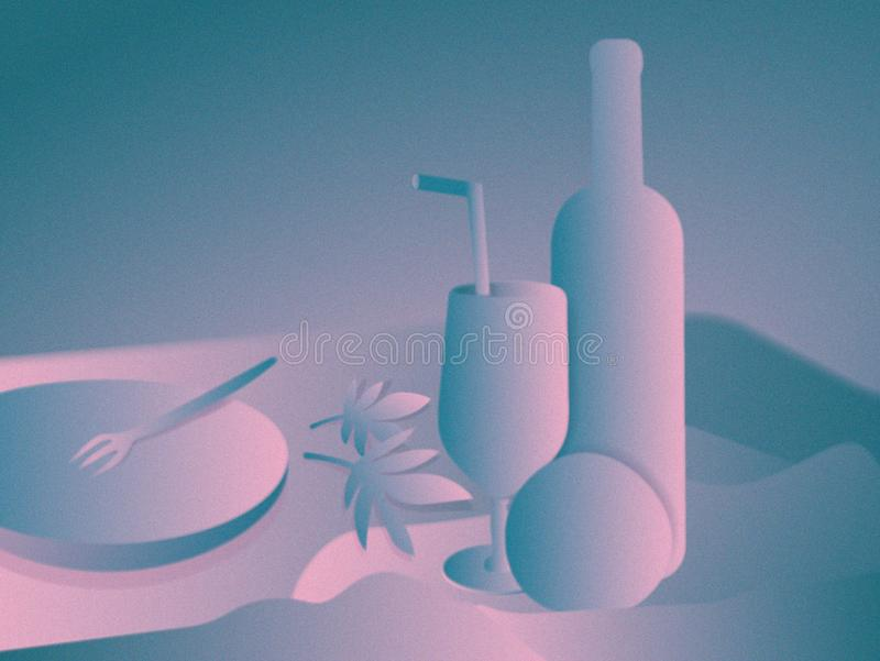 Modern still life. Digital painting. Wine bottle, crystal glass and apple or orange, leaves in the table. royalty free illustration