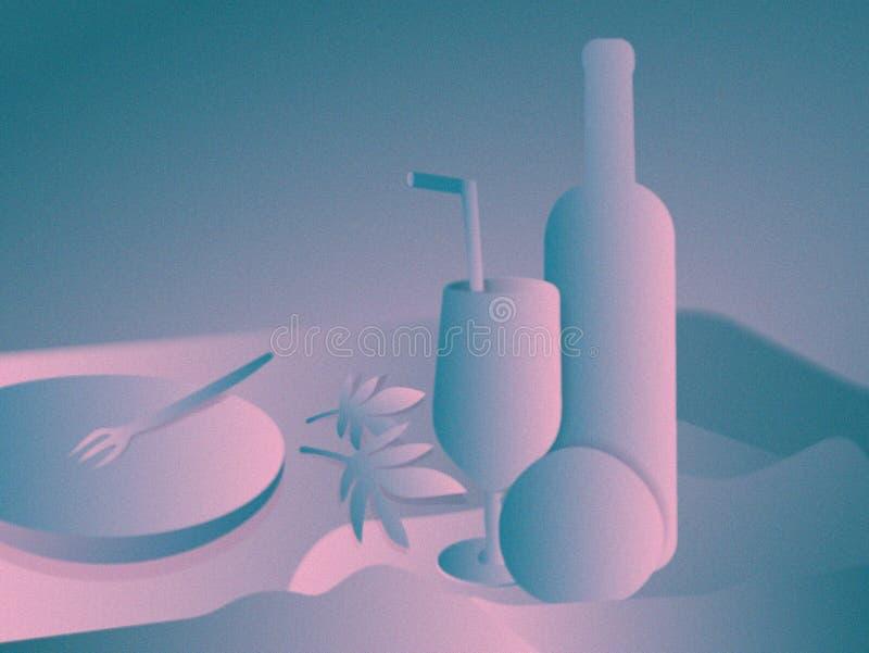 Modern stilleven Het digitale schilderen De wijnfles, het kristalglas en de appel of de sinaasappel, gaan in de lijst weg royalty-vrije illustratie