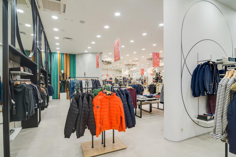 Modern store. MOSCOW, RUSSIA - November 5, 2014 - Hi end store at the shopping mall RIO stock images