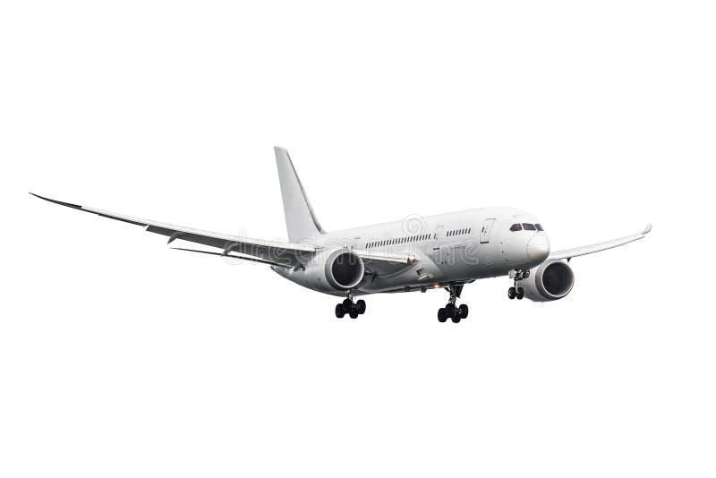 Modern straalvliegtuig 787 met geïsoleerd lichaam treft voor landende witte achtergrond voorbereidingen royalty-vrije stock fotografie
