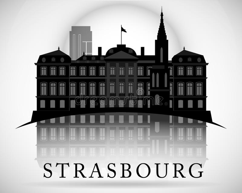Modern Strasbourg City Skyline Design. France. Modern Strasbourg City Skyline Design stock illustration