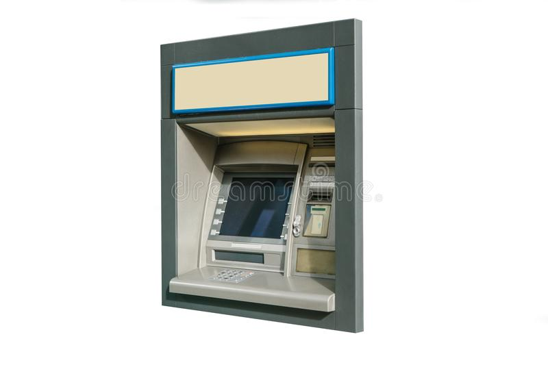 Modern street ATM machine for withdrawal of money and other financial transactions isolated on white background stock photography