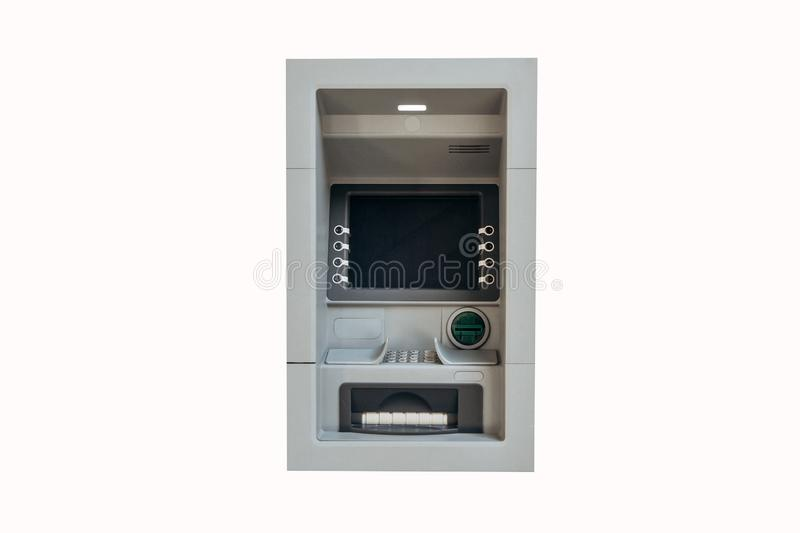 Modern street ATM machine for withdrawal of money and other financial transactions isolated on white background.  royalty free stock photo