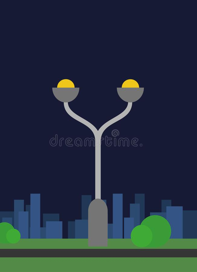Modern street light with two light bulbs royalty free stock photo