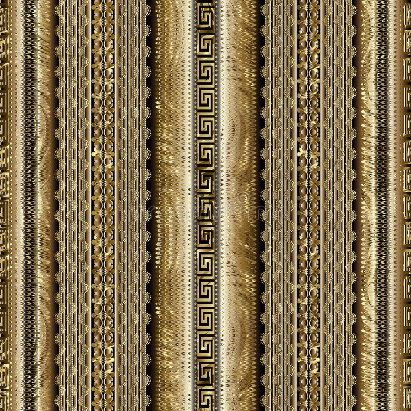 Modern striped geometric 3d greek key seamless borders pattern. Vector gold textured 3d background. Lace, lines, waves, vertical stripes, halftone, meanders royalty free illustration