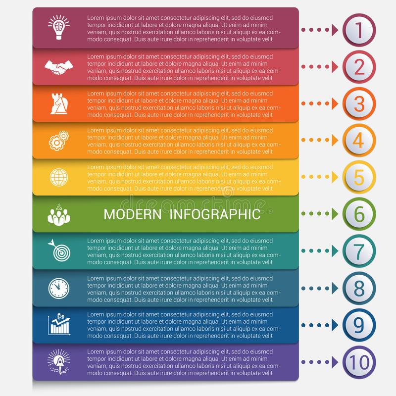 Modern strips infographics 10 options banner royalty free illustration