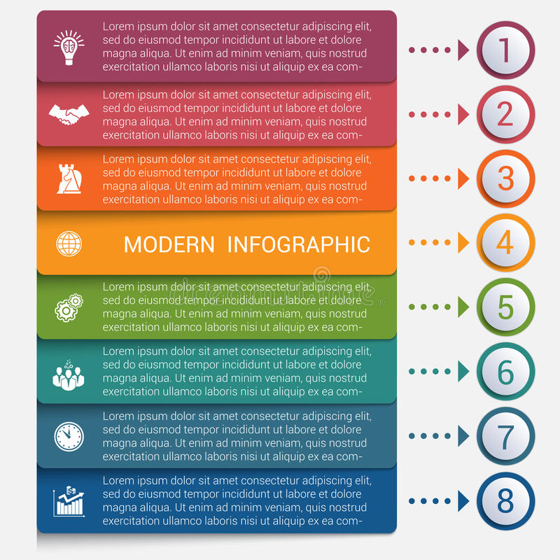 Modern strips infographics 8 options banner. For business processes, workflow, diagram, flowcharts royalty free illustration