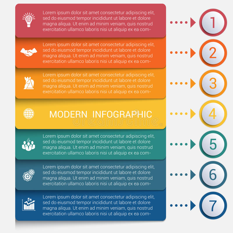 Modern strips infographics 7 options banner. For business processes, workflow, diagram, flowcharts stock illustration