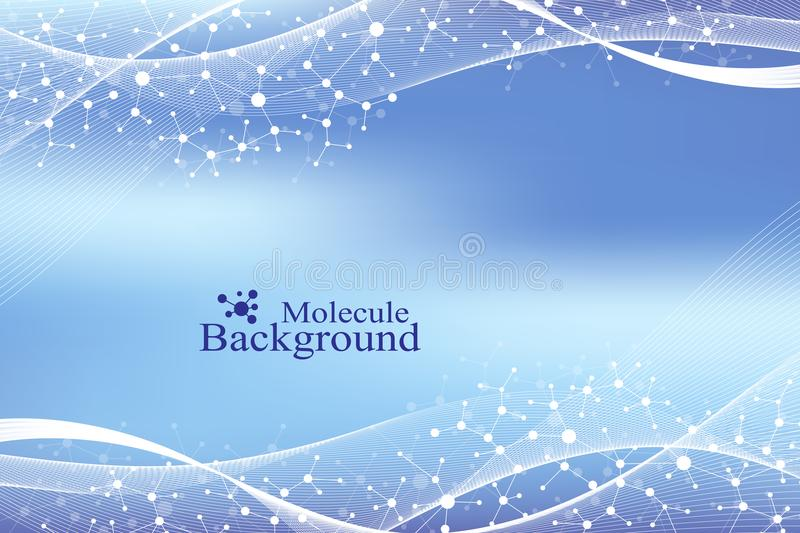 Modern Structure Molecule DNA. Atom. Molecule and communication background for medicine, science, technology, chemistry vector illustration