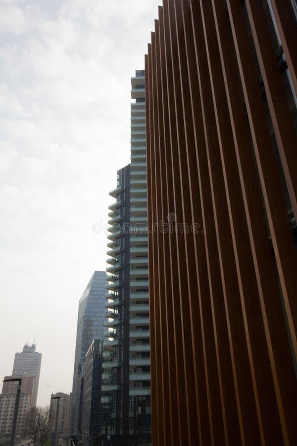 Modern struktur av vertikala trän royaltyfria bilder