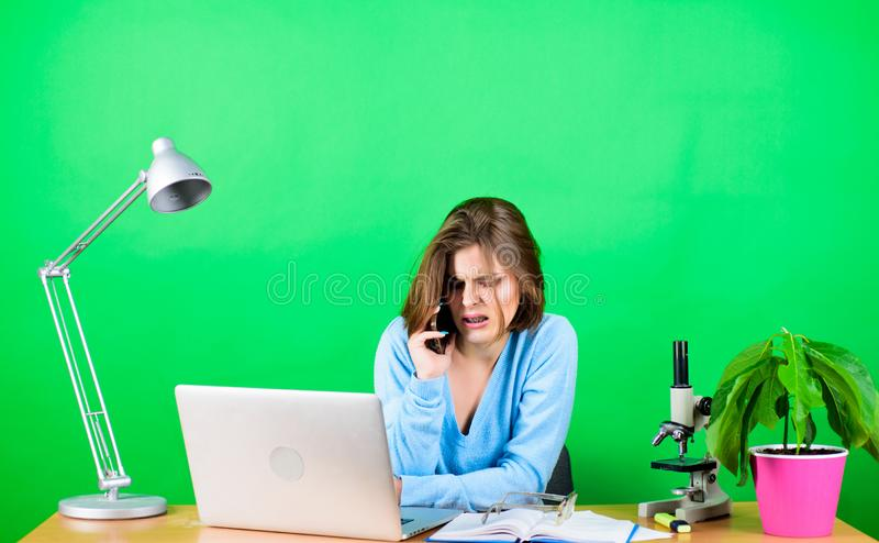 Modern student girl. Education concept. Student life. High school education. Calling friend. Online remote classes. Buy stock photo