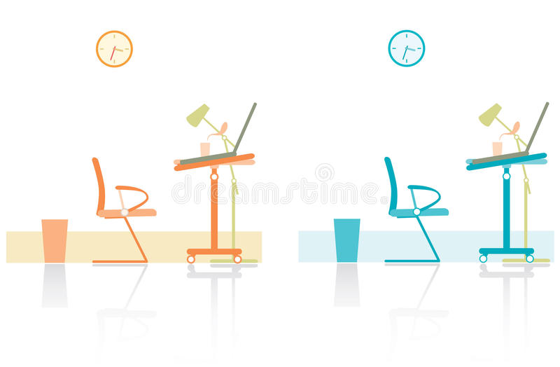Modern studies. Illustration of two colorful modern studies, isolated on white background stock illustration