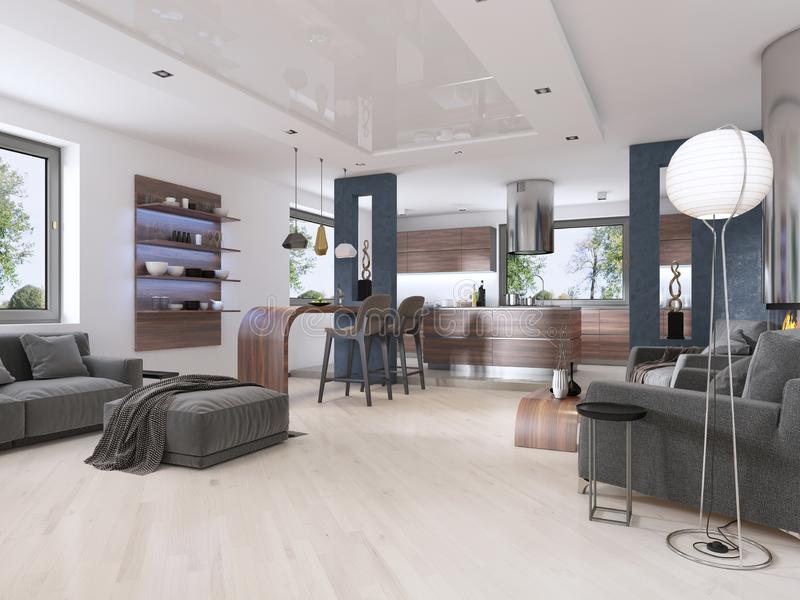 Modern studio apartment in Contemporary style. 3D rendering vector illustration
