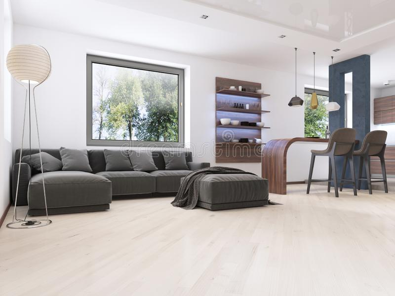 Modern studio apartment in Contemporary style. 3D rendering stock illustration