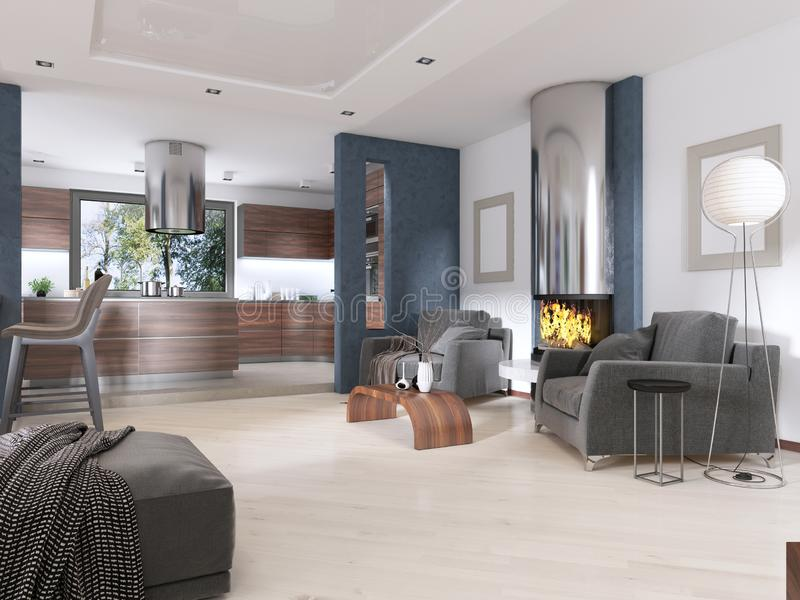 Modern studio apartment in Contemporary style. 3D rendering royalty free illustration