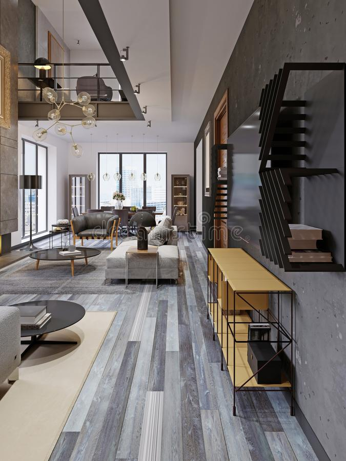 Modern studio apartment with a second floor in a loft style, with a yellow TV stand, a seating area and a dining table with. Panoramic windows. 3d rendering stock illustration