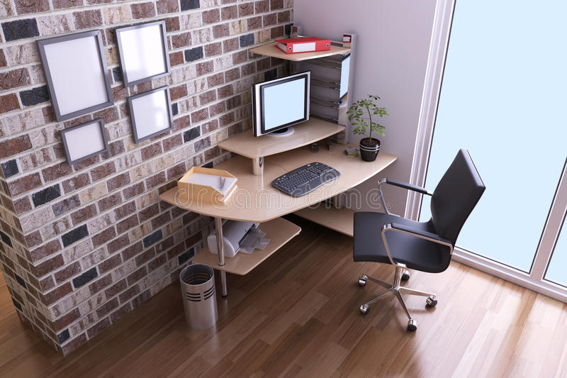 Modern study room stock illustration
