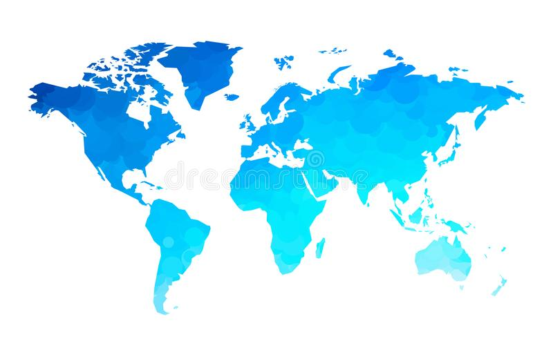 Blue circles world map background stock illustration