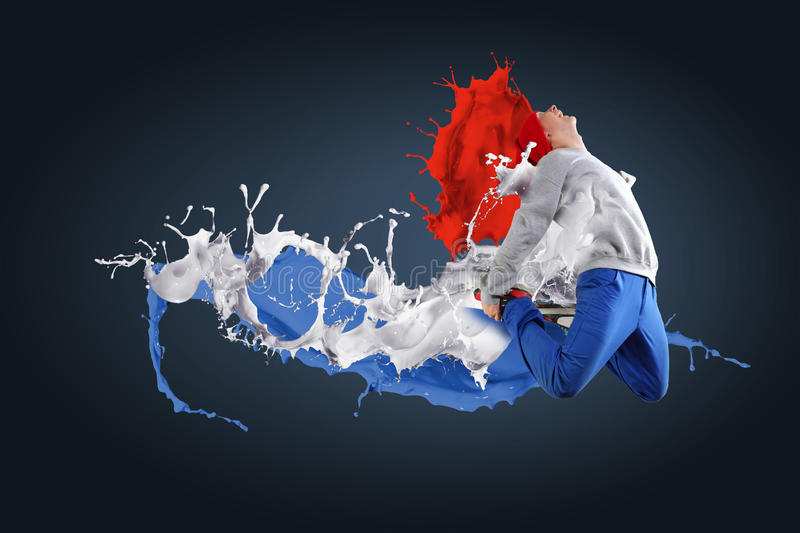 Modern style dancer. Jumping and paint splashes Illustration royalty free stock photo