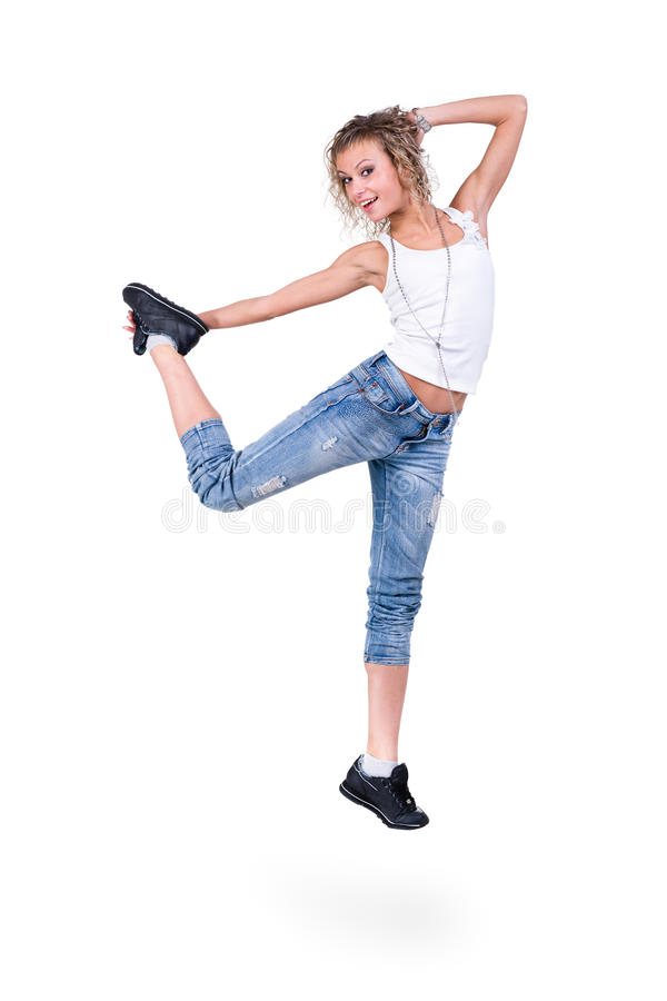Modern style dancer jumping. On white background stock photography