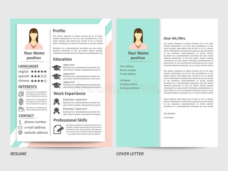 Female Resume And Cover Letter Template Stock Vector - Illustration ...