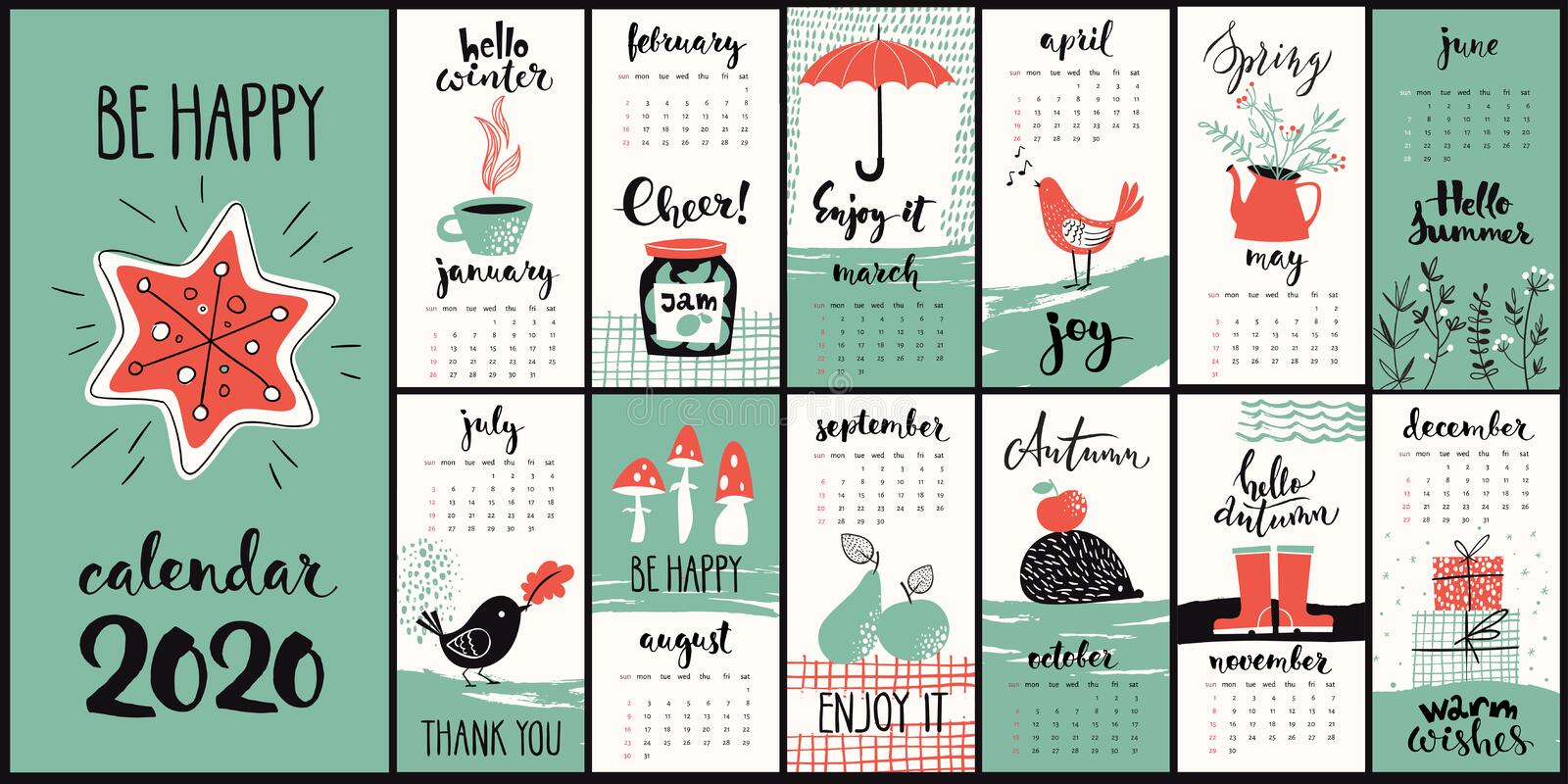 Modern style hand drawn cartoon vector 2020 calendar with monthly symbols stock photo