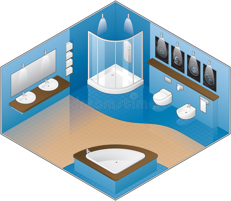 Modern Style Large Bathroom royalty free illustration