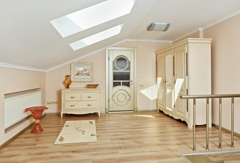 Download Modern Style Loft Room Interior In Light Beige Royalty Free Stock Photography - Image: 17962087