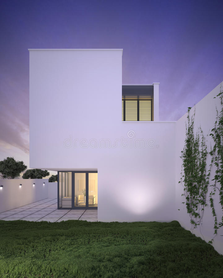 Modern Style Minimalist House Exterior At Dusk Stock