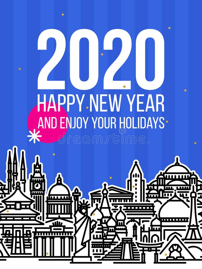 Modern style numbers 2020 with cityscape of worlds most popular tourist attractions and happy New Year greetings vector illustration