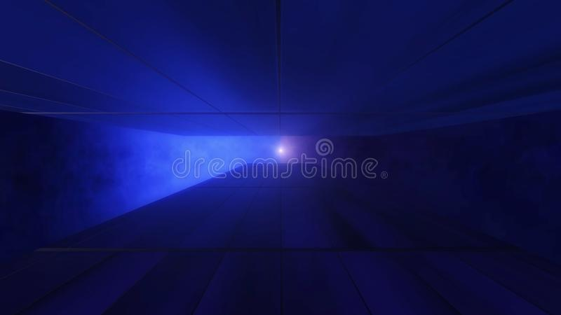 Modern style of 80`s 90`s retro style grid tunnel with sun. Vintage and future together, 3D rendering stock illustration