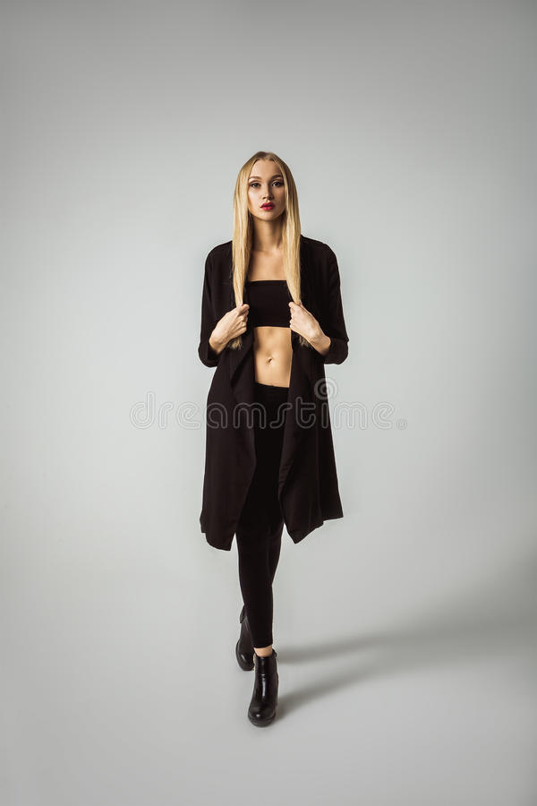 Modern Style Wear Fashion Model Girl Posing stock images