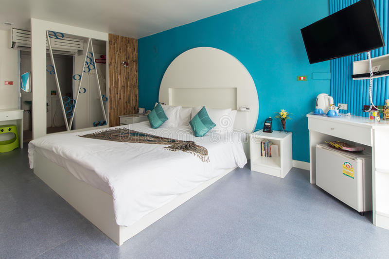 Modern styles of bedroom. Of resort in Thailand royalty free stock photography