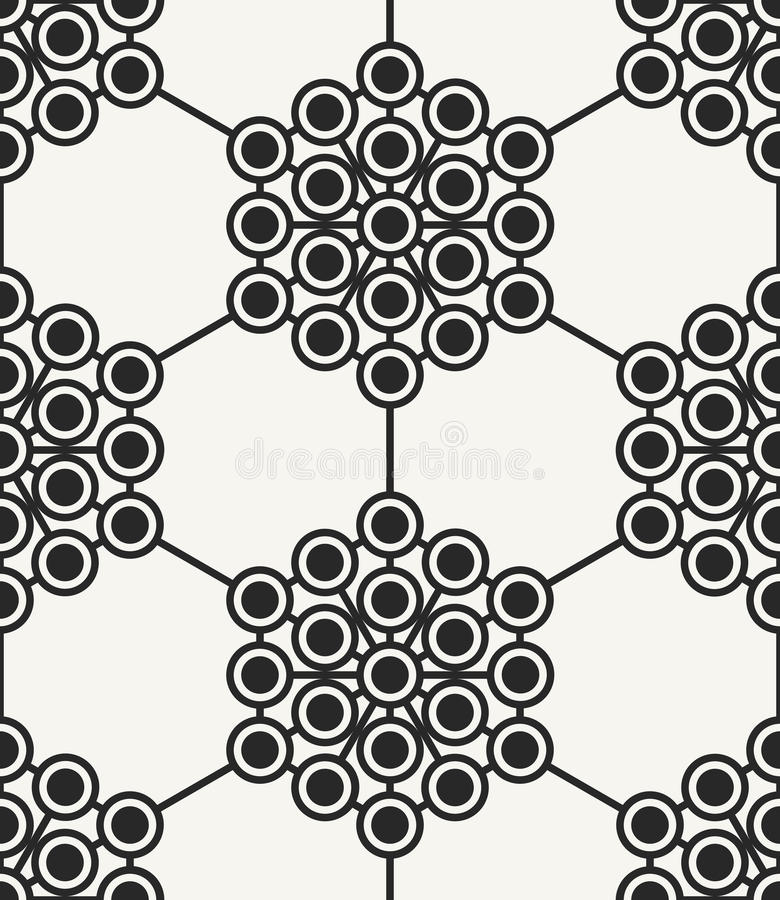 Modern stylish abstract hexagonal texture with structure of repeating circles. Vector seamless pattern. Perfect background for prints, wrapping paper and vector illustration