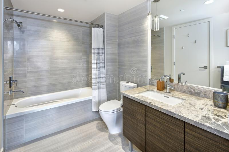 Modern stylish condo bathroom design with gray tiling stock images