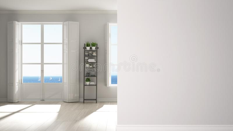 Modern stylish empty room with panoramic windows on a foreground wall, interior design architecture idea, concept with copy space. Blank background vector illustration