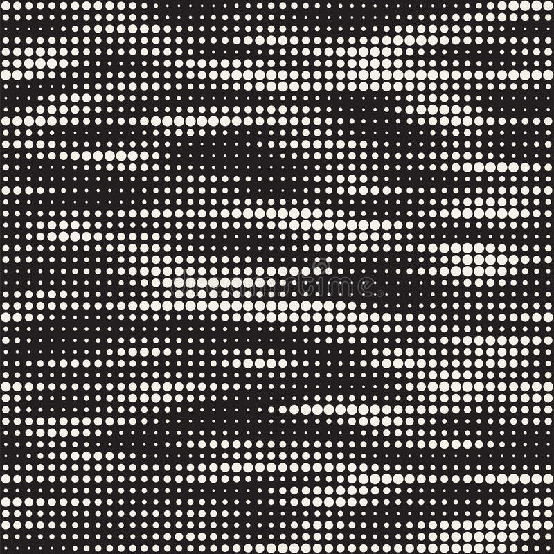 Modern Stylish Halftone Texture. Endless Abstract Background With Random Circles. Vector Seamless Mosaic Pattern. Modern Stylish Halftone Texture. Endless stock illustration