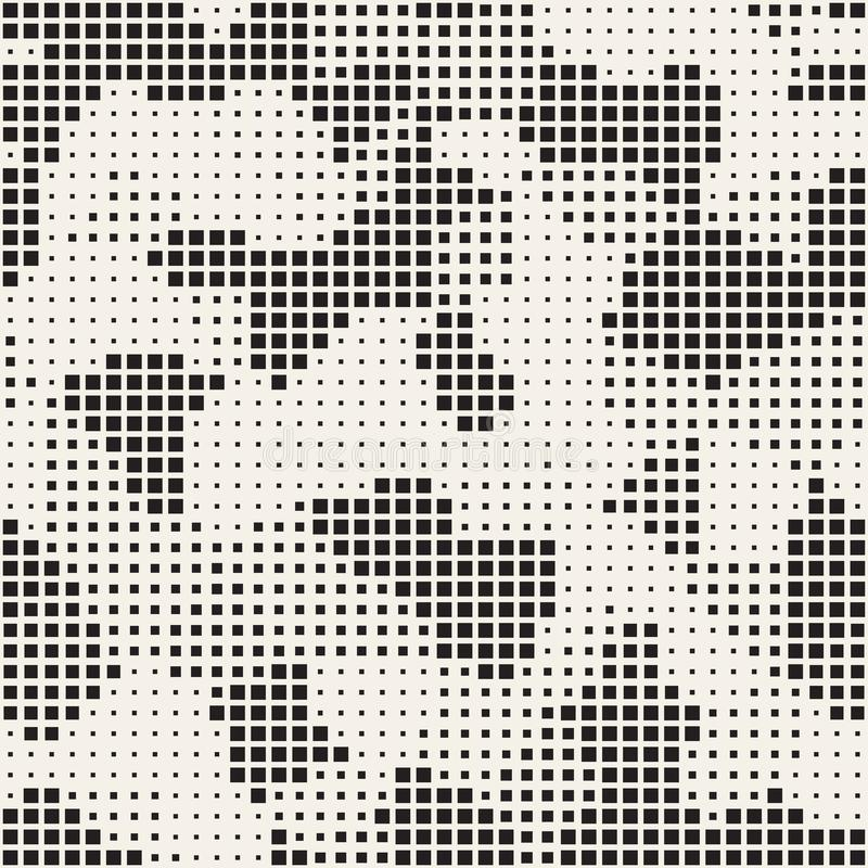 Modern Stylish Halftone Texture. Endless Abstract Background With Random Size Squares. Vector Seamless Chaotic Squares. Mosaic Pattern royalty free illustration
