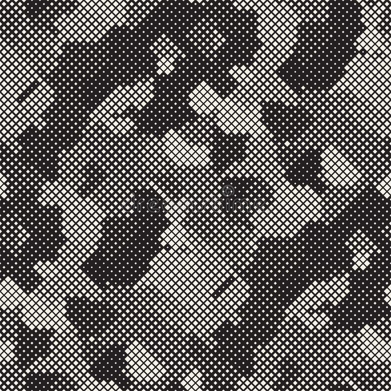 Modern Stylish Halftone Texture. Endless Abstract Background With Random Size Squares. Vector Seamless Squares Mosaic Pattern royalty free stock images