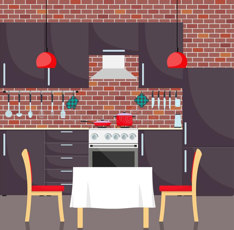 Modern stylish kitchen interior. Kitchen utensils and appliances, furniture, gas stove, refrigerator. Pan and frying pan on the st stock illustration