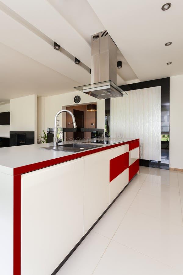 Modern and stylish kitchen stock image