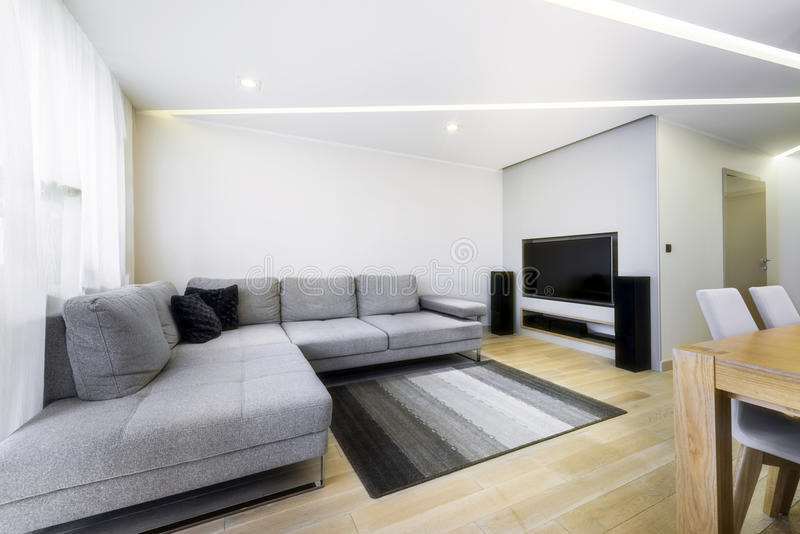 Modern, stylish living room in grey color stock photography