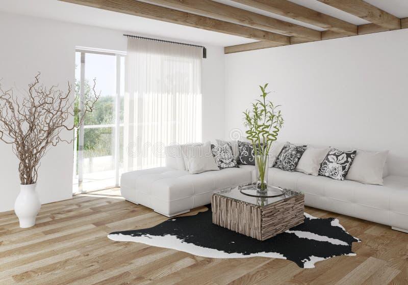 Download Modern Stylish Living Room With Wood Beams Stock Illustration    Illustration Of Mock, Livingroom